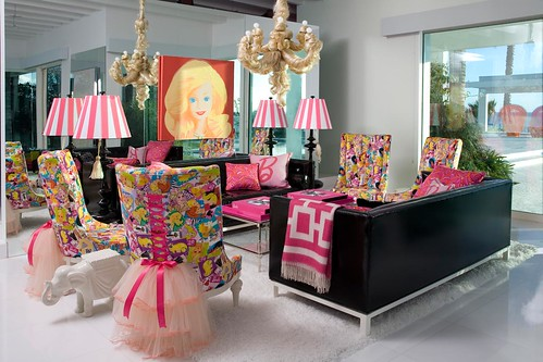 Barbie's pink and frilly living room, designed by Jonathan Adler, photos by Michael Williams/Haute Doll Magazine