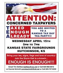 Hutchinson, Kansas Tea Party Flyer