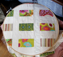 coin quilt on hoop