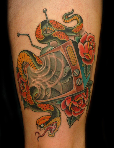 TV Snake With Rose Tattoo