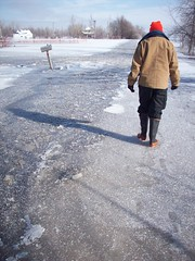 We could now walk on the ice (legallyglinda) Tags: flood 2009 westfargo sheyenneriver
