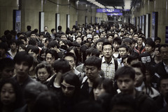 Lost in a Sea of Faces (Jeremy Snell) Tags: china sea people subway lost faces humanity beijing lightrail crowded