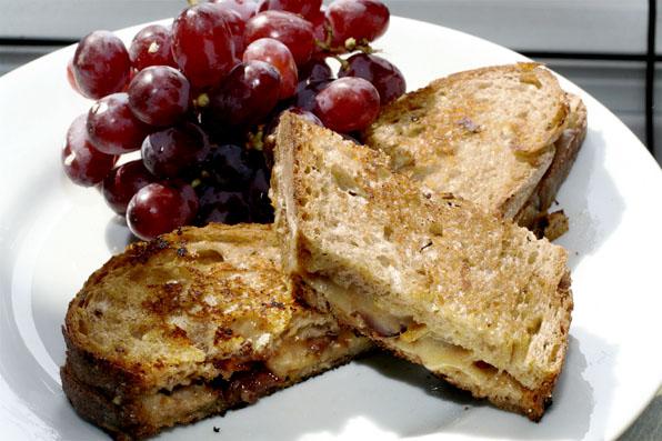 Grilled smoked mozzarella with maple-glazed bacon
