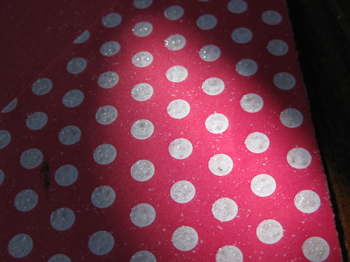 glitter glue on polka dots