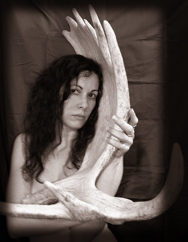 BONELUST - Self Portrait with Moose Antler 1