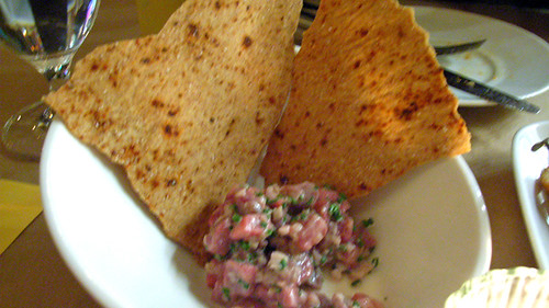 Smoked beef tartare and paprika flatbread @ Damon's Frugal Friday by you.
