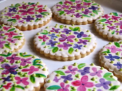 Handpainted Wedding Shower Cookies (Whipped Bakeshop) Tags: flowers weddingcookie cookies2 zoelukas whippedbakeshop handpaintedcookie weddingcookiefavors bestofphilly2010 philadelphiacakescookiesandcupcakes