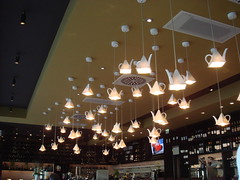 neat teapot lights at the V cafe at the Vincent Hotel, Southport