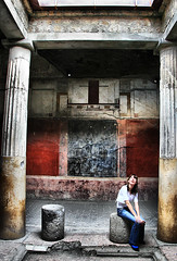 Pompeii Architecture (` Toshio ') Tags: light people italy woman house art history home colors girl wall architecture composition buildings person volcano hands europe italia european cityscape artistic roman buried vibrant pillar skylight tourist lookingup jeans mountvesuvius pompeii historical vesuvius pillars europeanunion romanempire toshio paintedwalls firstcentury firstcenturyad superaplus aplusphoto