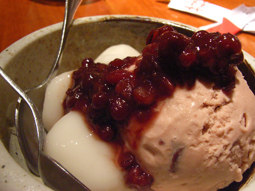 Red bean ice cream, mochi, azuki @ Sake Bar Hagi by you.