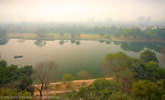 A dreamy view of my home town (Java Cafe) Tags: city trees india lake water buildings landscape cityscape view horizon aerial kolkata calcutta westbengal   rabindrasarobar incrediblebengal