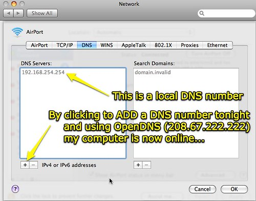 Adding a DNS number (Mac OS X 10.5)