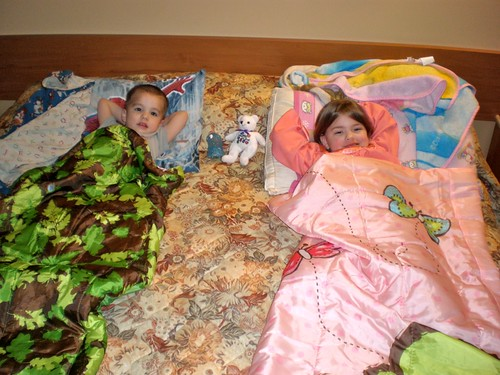Kids sleeping at the Hotel