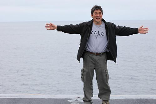 Guy Kawasaki at front of USS Nimitz