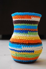 flower vase cover large (Studio SOIL) Tags: flowers copyright colors colorful bright handmade crochet cover vase owndesign