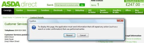 Asda error message