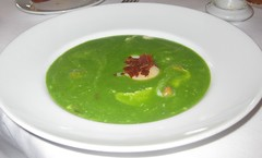 One Market - Asparagus Soup with poached egg and bacon