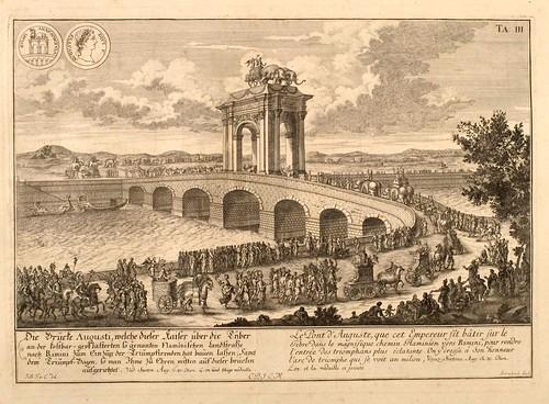 011- El puente de Augusto sobre el Tiber-Entwurf einer historischen Architektur 1721- © Universitätsbibliothek Heidelberg