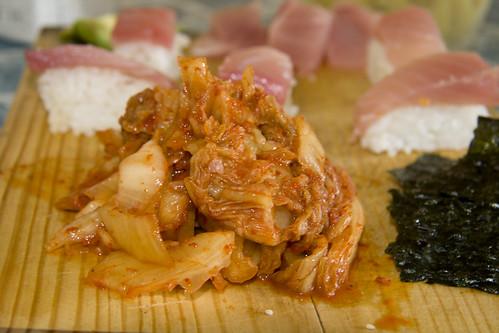kimchi, nigiri and nori