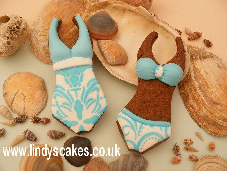 Decorated Summer Cookies - Swimming Costume by Lindy's cakes