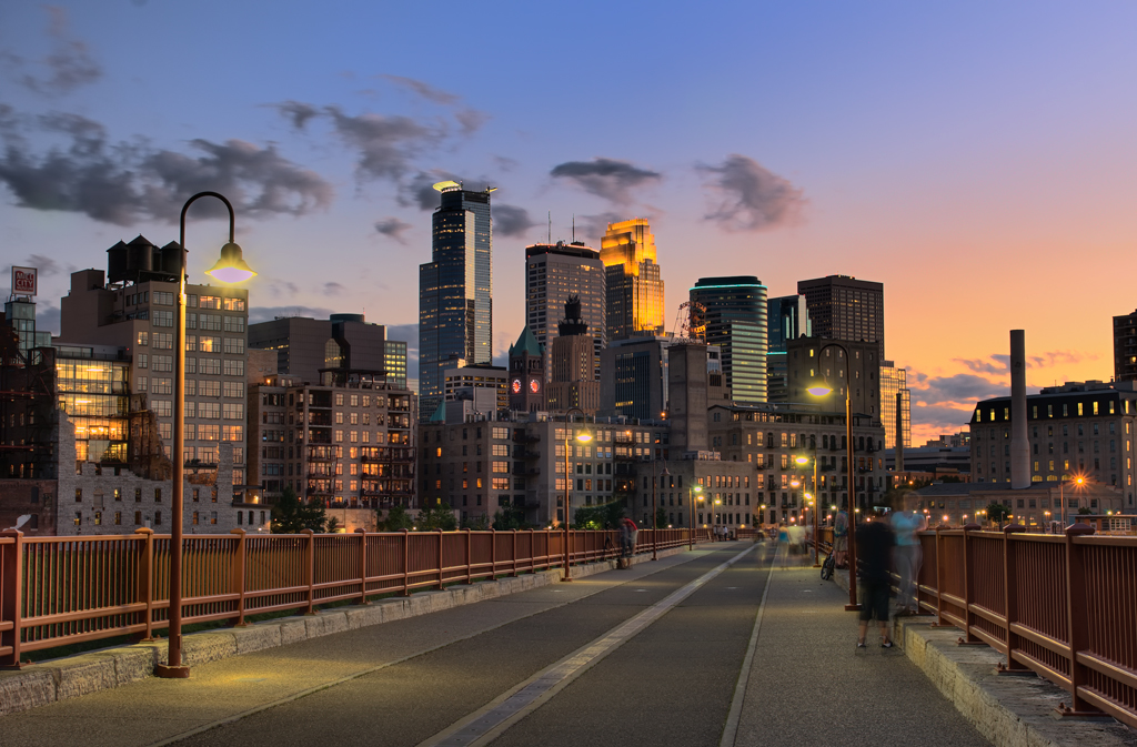 Downtown Minneapolis, MN captured at dusk from the Stone Arch Bridge