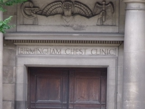 Birmingham Chest Clinic, 150-152 Great Charles Street Queensway - door - relief of Aesculapius