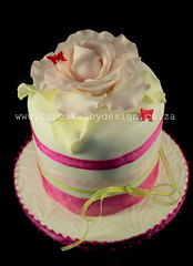 Mother's Day 10cm Mini cake (Dot Klerck....) Tags: pink flowers wedding green rose chocolate capetown dot ribbon mothersday minicake cupcakesbydesign
