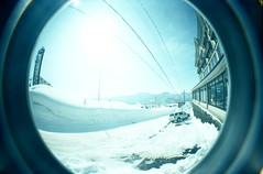 snow world (troutfactory) Tags: winter white snow film japan landscape lomo toycamera wideangle fisheye  analogue niigata superia400   snowworld akakura