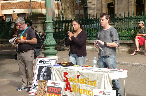 Jim, Connie and Ewan from the Socialist Alliance