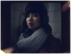 Hors saison (Blackmint Pepper) Tags: winter portrait woman color girl scarf asian polaroid photography chapka