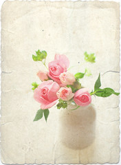 (mamako7070) Tags: pink flowers roses plants white flower green texture rose milk bottle explore bouquet carnation whiteground  oldpaper whiteback  gettyimagesjapanq2