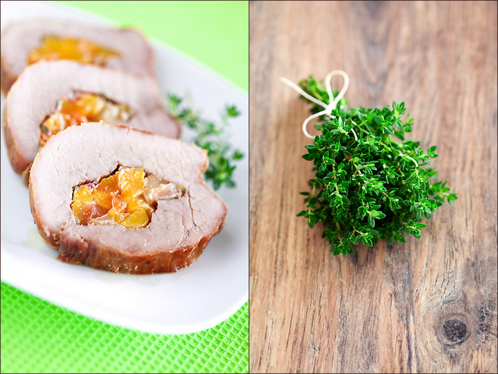 Pork stuffed with peaches and thyme