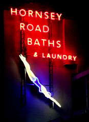 Hornsey Road Baths and Laundry (Herschell Hershey) Tags: london sign neon baths swimmer diver lettering holloway islington londonist hornseyroad whichisriduculous asifhollowaywasvegas theydonthavekebabshopsinnevada