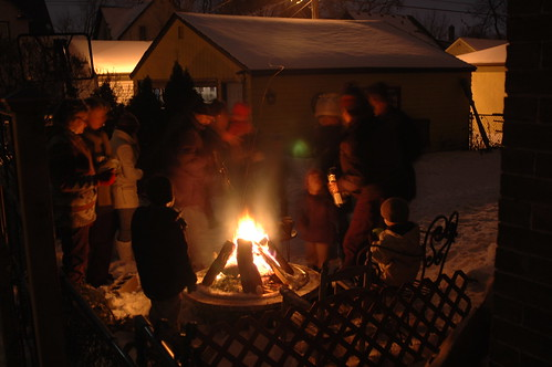 neighbors, fire and hot chocolate
