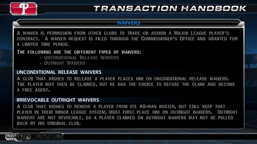 MLB 09 The Show screenshot - Waivers