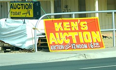 Auction sign for travel dither post