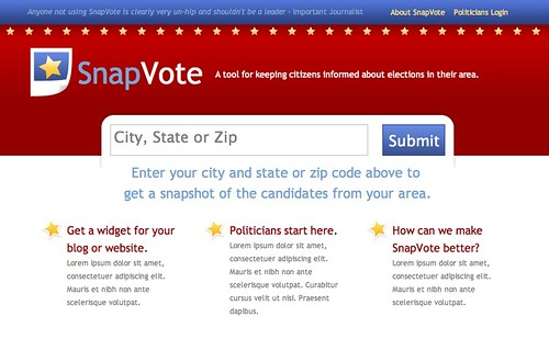 SnapVote: Homepage Mockup