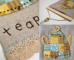 Linen Teapot Hanging - details (PatchworkPottery) Tags: art quilt tea handmade embroidery sewing crafts mini teapot patchwork zakka wallhanging