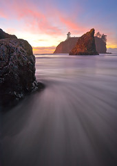 What's Around The Corner ? Ruby Beach Olympic National Park (kevin mcneal) Tags: ocean sunset lightpainting beach nature landscape twilight olympicpeninsula coastal haystack canon5d rubybeach olympicnationalpark abigfave kevinmcneal goldstaraward