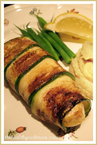 Zucchini wrapped Halibut