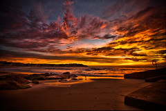 If I close my eyes and picture the perfect sunrise.......it wouldn't even be as good as this   HDR (Assaf_F) Tags: ocean sea beach water bondi clouds sunrise fire high rocks colours dynamic pastel gull sydney australia range hdr