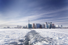 Across the Ice (Mute*) Tags: city winter lake toronto ontario cold ice landscape cityscape searchthebest freezing canonef1740mmf4lusm