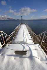 Pier on Shikotsu Ko (.mushi_king) Tags: winter lake holiday snow cold ice japan pier hokkaido north freezing ko nippon shikotsu