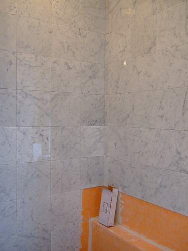 Shower tile in progress