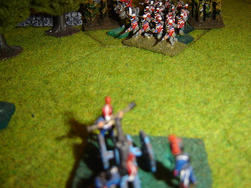 English infantry face French artillery fire