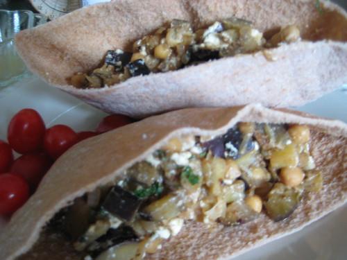 feta, garbanzo bean, and eggplant pita sandwiches