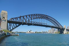 Sydney Harbour Bridge and Opera House (GlobeTrotter 2000) Tags: new bridge blue vacation panorama house wales architecture digital landscape bay harbor nikon opera harbour south sydney australia iconic dri blending d80 gettyvacation2010