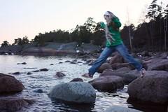Leap (dronir) Tags: trees sea jump rocks shore henna porvoo emäsalo canoneos450d chinon28mmf28 varlaxudden