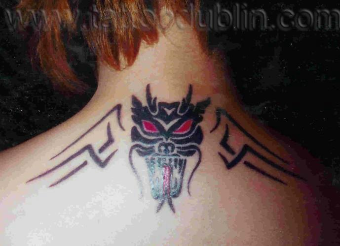 tribal dragon tattoo black japanese