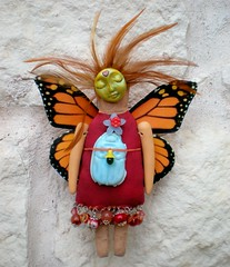 Monarch Art Doll Mixed Media OOAK (SpiritMama) Tags: red orange flower butterfly beads wings folkart dolls assemblage